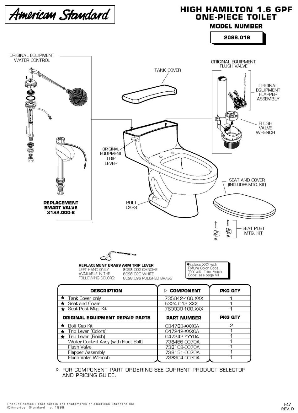 Toiletpro Com Parts Breakdown For American Standard 2096